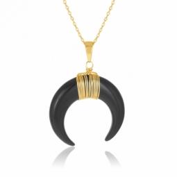 Collier en plaqué or et pierre synthétique