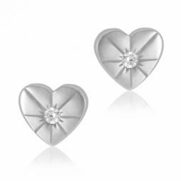 Boucles d'oreilles en argent rhodié et oxyde de zirconium