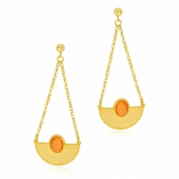 Boucles d'oreilles en argent rhodié doré et pierre synthétique