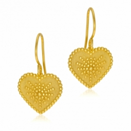Boucles d'oreilles en argent doré, coeur
