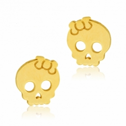 Boucles d'oreilles en or jaune, tête de mort