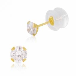 Boucles d'oreilles en or jaune et oxyde de zirconium 4 mm, poussette silicone