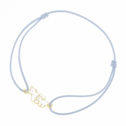 Bracelet cordon en or jaune et laque, ours