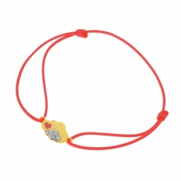 Bracelet cordon orange en or jaune et laque