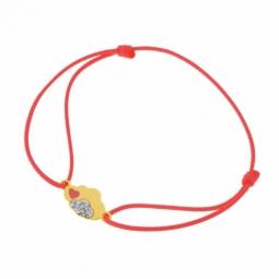 Bracelet cordon orange en or jaune et laque