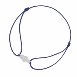 Bracelet cordon bleu et or gris, esquimau