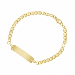 Bracelet identité en or jaune, plaque rectangle