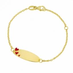 Bracelet identité en or jaune et laque rouge, coeurs