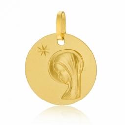 Médaille ronde en or jaune, vierge, étoile