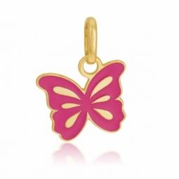 Pendentif en or jaune et laque rose, papillon