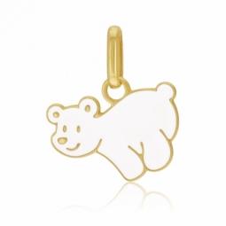 Pendentif en or jaune et laque,ours