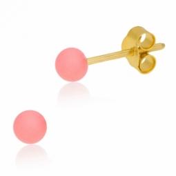 Boucles d'oreilles en or jaune et laque, boule