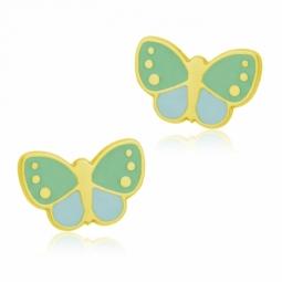 Boucles d'oreilles en or jaune et laque bleue