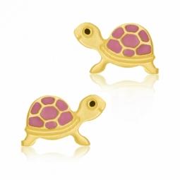 Boucles d'oreilles en or jaune et laque de couleur, tortue