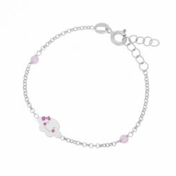 Bracelet en argent rhodié, cristaux de synthèse et laque, nuage