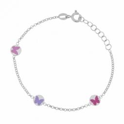 Bracelet en argent rhodié et laque de couleurs, papillons