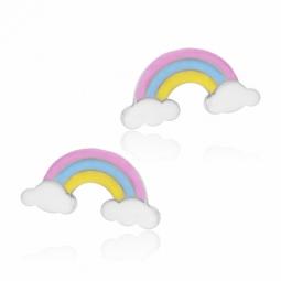 Boucles d'oreilles en argent rhodié et laque, arc en ciel