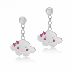 Boucle d'oreilles en argent rhodié et laque rose, nuage
