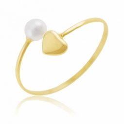Bague en or jaune, perle de culture