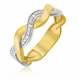 Bague en or jaune rhodié, diamants