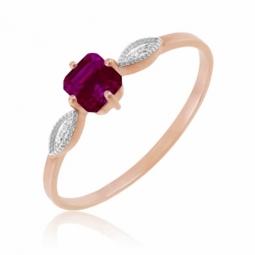 Bague en or rose, diamants et rhodolite