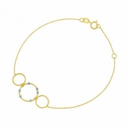 Bracelet en or jaune et cristaux de synthèse bleus