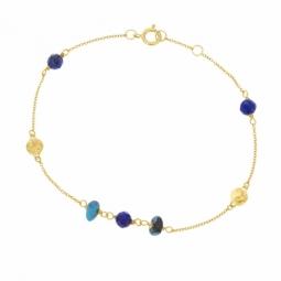 Bracelet en or jaune, lapis-lazuli et turquoise reconstituée