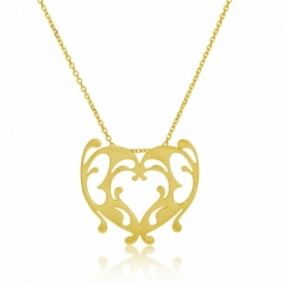Collier en or jaune, coeur ajouré