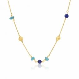 Collier en or jaune, lapis-lazuli et turquoise