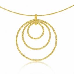 Collier câbles en or jaune et titane