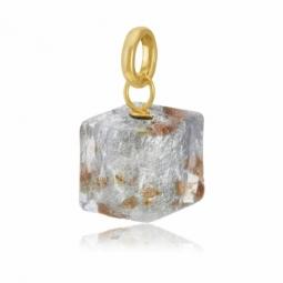 Pendentif en or jaune et verre de Venise, carré