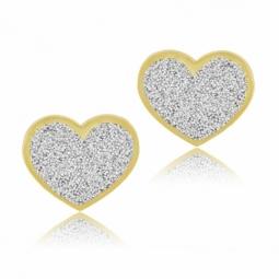 Boucles d'oreilles en or jaune, laque pailletée coeur