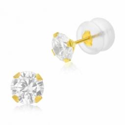Boucles d'oreilles en or jaune et oxyde de zirconium  5 mm, poussette silicone