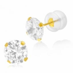 Boucles d'oreilles en or jaune, oxyde de zirconium 7 mm, poussette silicone
