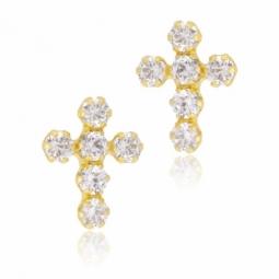Boucles d'oreilles en or jaune et oxydes de zirconium, croix