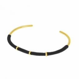 Bracelet jonc en plaqué or et cordon noir