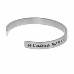 Bracelet jonc en acier, je t'aime MAMAN