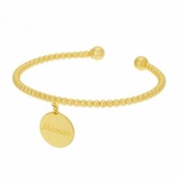 Bracelet jonc en argent doré ,interieur acier maman