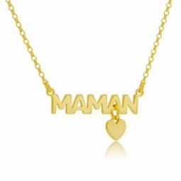 Collier en argent doré , maman