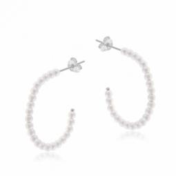 Boucles d'oreilles en argent rhodié et perles synthétiques