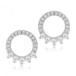 Boucles d'oreilles en argent rhodié et oxydes de zirconium, mini cercle