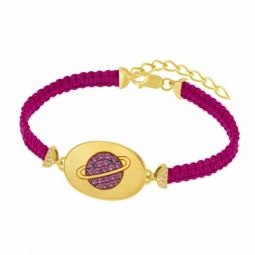 Bracelet en argent doré et oxydes de zirconium, planète