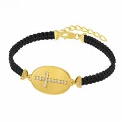 Bracelet en argent doré et oxydes de zirconium, croix