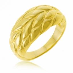 Bague en plaqué or, feuille