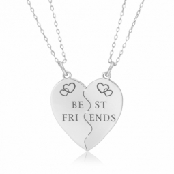 Collier coeur sécable en argent, Best friends