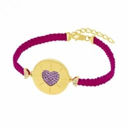 Bracelet en argent doré et oxydes de ziconium, coeur