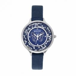 Montre femme, boîte acier, bracelet cuir bleu et verre minéral