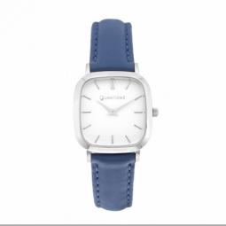 Montre femme, boite acier,bracelet cuir bleu et verre minèral