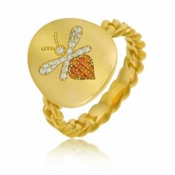 Bague en argent doré et oxydes de zirconium, abeille