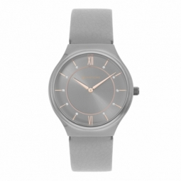 Montre femme, boîte acier gris, bracelet cuir et verre minéral